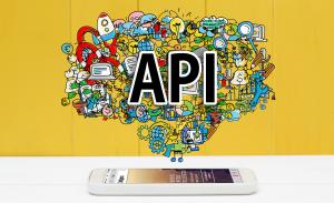 Telefon med illustrasjon for API